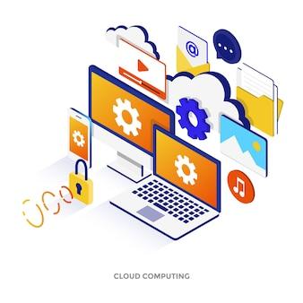 클라우드 컴퓨팅의 현대적인 평면 디자인 아이소메트릭 그림입니다. 웹사이트 및 모바일 웹사이트 또는 방문 페이지에 사용할 수 있습니다. 쉽게 편집하고 사용자 정의할 수 있습니다. 벡터 일러스트 레이 션