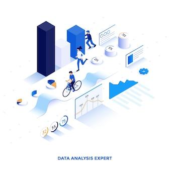 データ分析エキスパートのモダンなフラットデザインの等角図