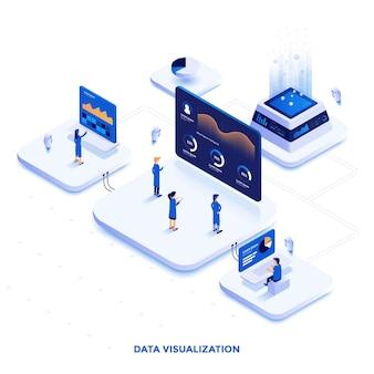 データ視覚化のモダンなフラットデザインの等角図