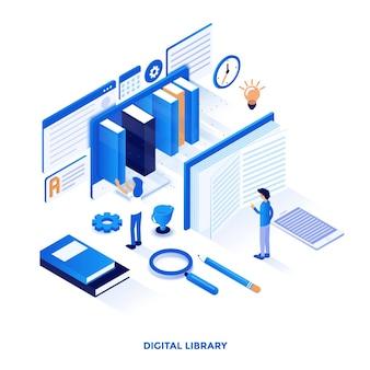 디지털 도서관의 현대적인 평면 디자인 아이소 메트릭 그림