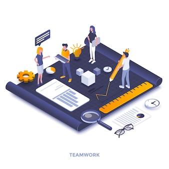 チームワークのモダンなフラットデザインの等尺性イラスト