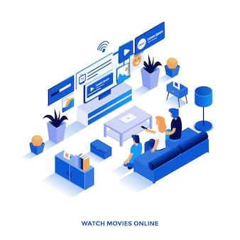 オンラインで映画を見るのモダンなフラットデザインのアイソメトリックイラスト