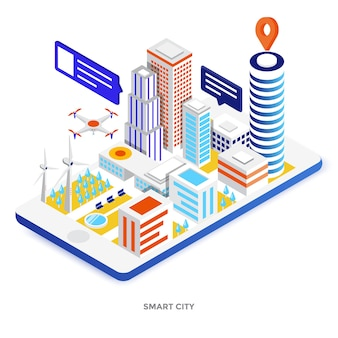 Modern flat design isometric illustration of smart city. can be used for website and mobile website or landing page. easy to edit and customize. vector illustration