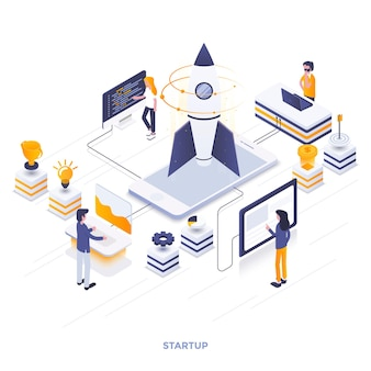 Modern flat design isometric illustration of startup. can be used for website and mobile website or landing page. easy to edit and customize. vector illustration
