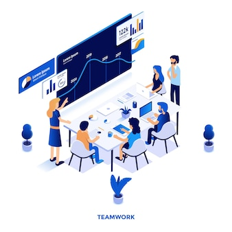 Modern flat design isometric illustration of teamwork