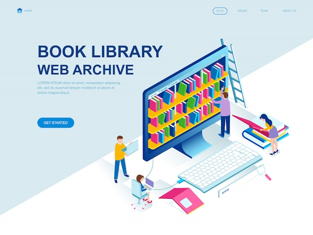 Modern flat design isometric landing page of book library