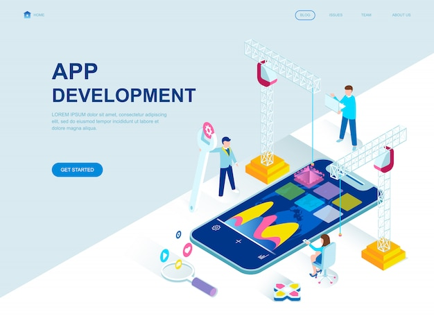Изометрическая целевая страница современного плоского дизайна app development