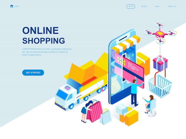 Modern flat design isometric landing page of online shopping