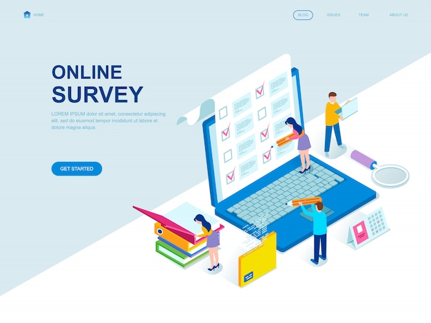 Modern flat design isometric landing page of online survey