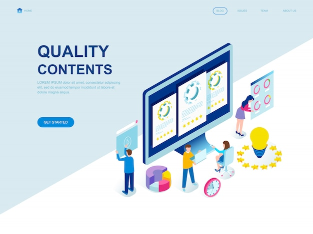 Modern flat design isometric landing page of quality content