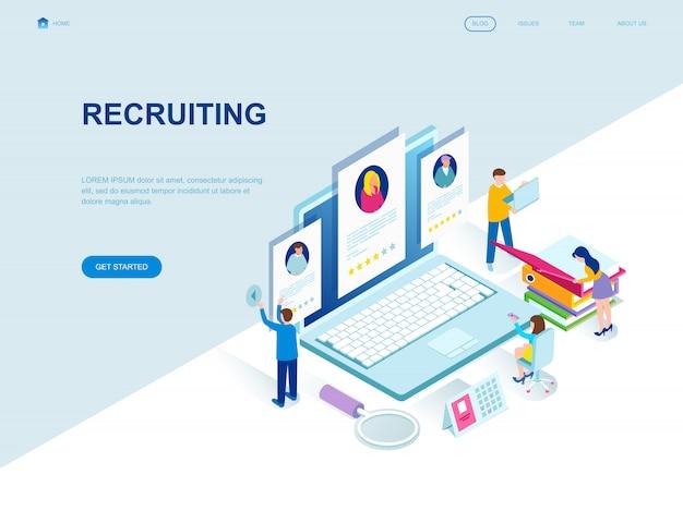 Modern flat design isometric landing page of recruiting