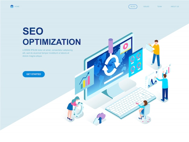 Modern flat design isometric landing page of seo analysis