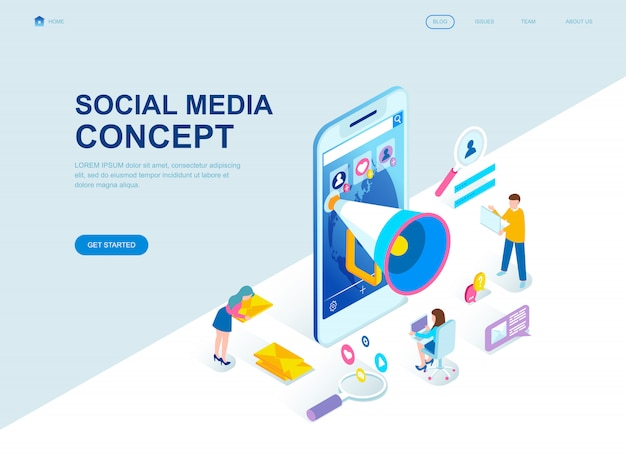 Modern flat design isometric landing page of social media