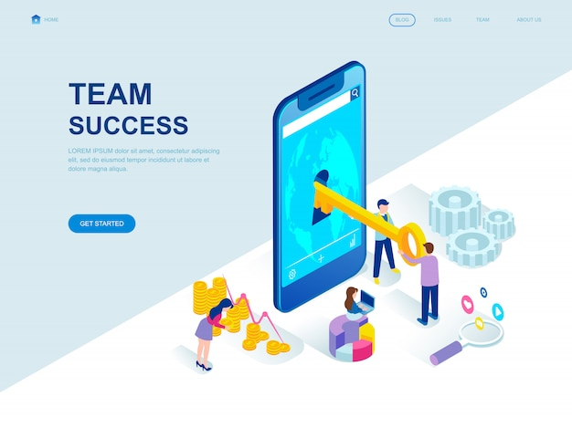 Modern flat design isometric landing page of team success