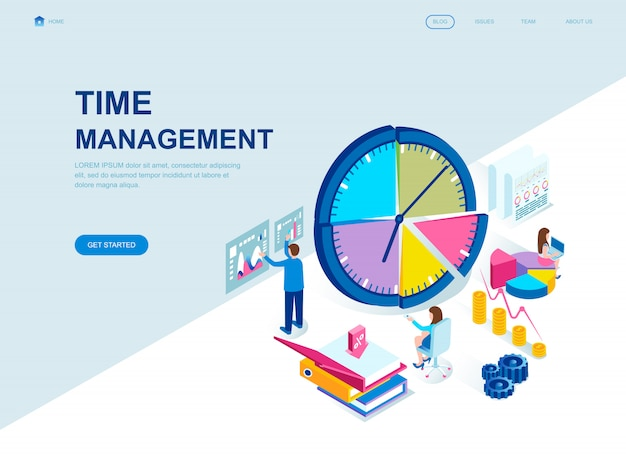 Modern flat design isometric landing page of time management