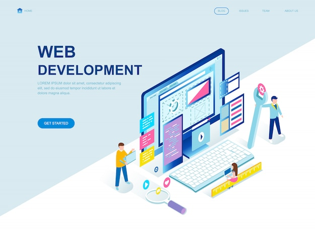 Modern flat design isometric landing page of web development