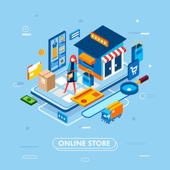 Modern flat design isometric of online shopping process from smartphone, with card, truck, product