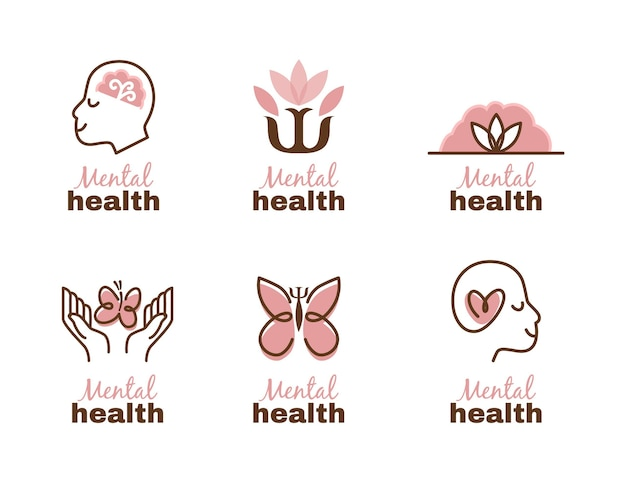 Modern flat design mental health logo set