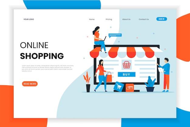 Modern flat design online shopping landing page