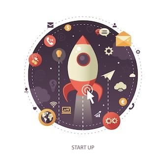 モダンなフラットデザインは、宇宙へのロケットのリフトオフでビジネスインフォグラフィックイラストを開始します