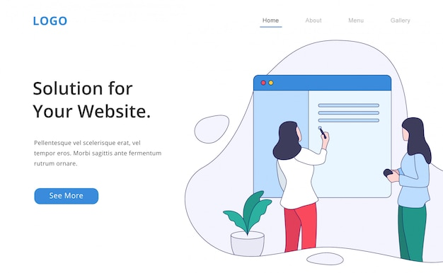 Modern flat design web developer landing page