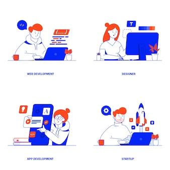 웹 개발, 디자이너, 앱 개발 및 시작에 대한 현대적인 평면 디자인 개념