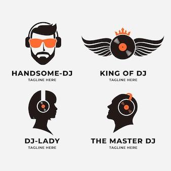 Современная плоская коллекция логотипов dj