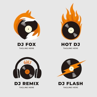 Modern flat dj logo collection