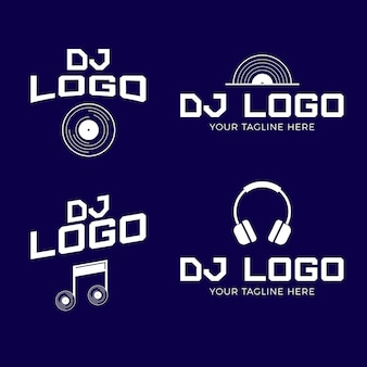 Modern flat dj logo collection