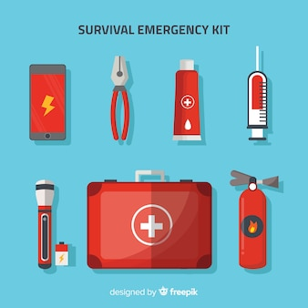 Modern flat emergency survival kit