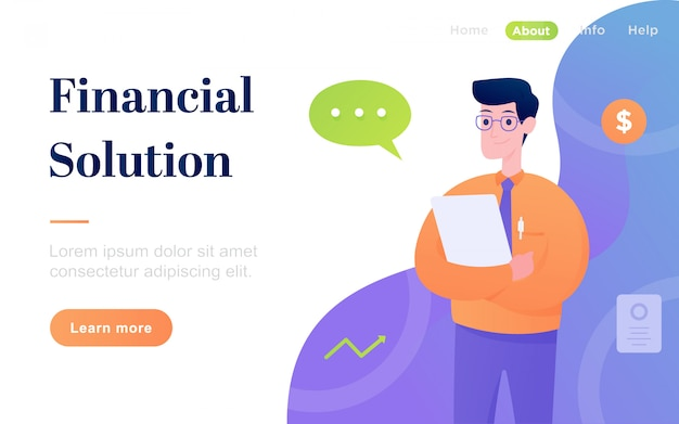 Modern flat financial solution landing page