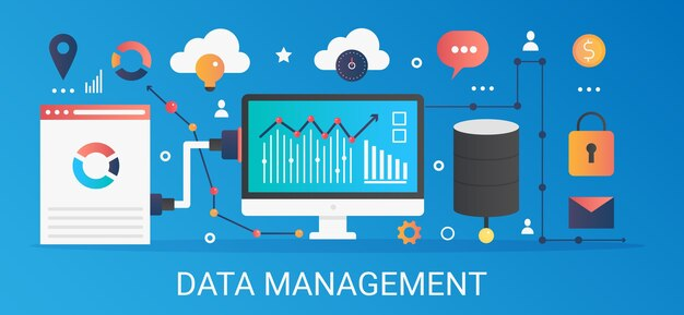 Современный плоский градиент баннер шаблона концепции управления данными с значками и текстом.
