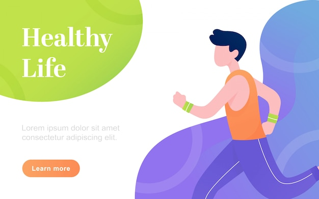 Modern flat healthy life landing page template illustration