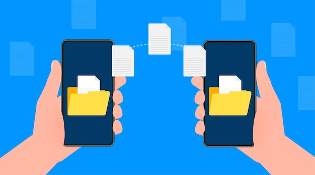 Modern flat icon with file transfer from smartphone to smartphone on blue background