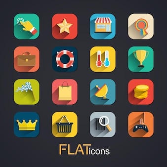 Modern flat icons collection with long shadow effect