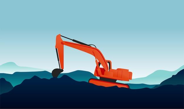 Modern flat illustration of excavator the construction vehicle