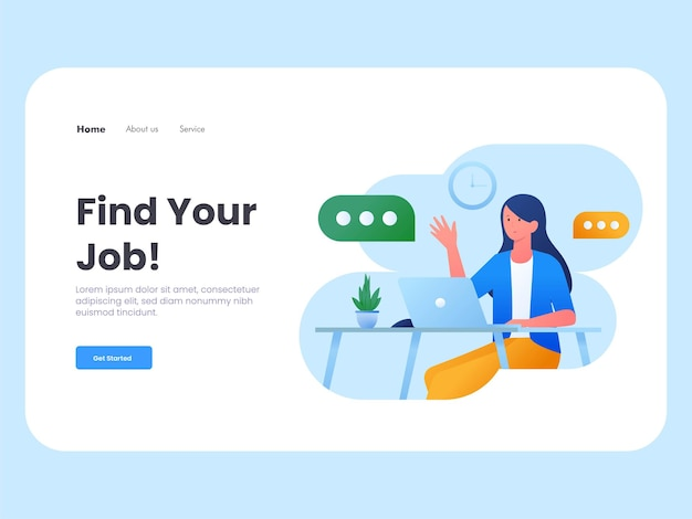 Modern flat illustration of a job interview landing page template