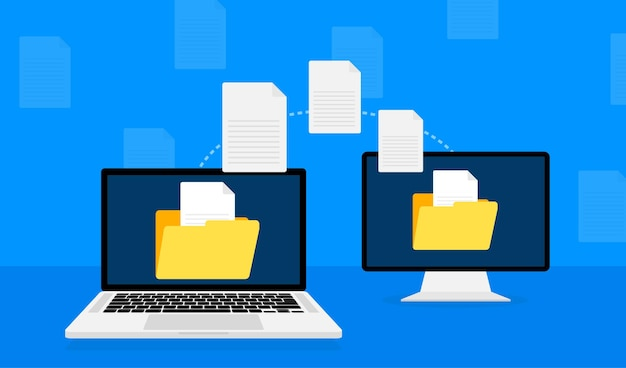 Modern flat illustration with file transfer on white
