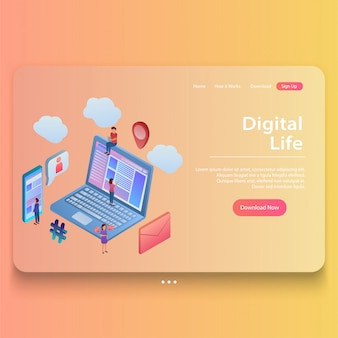 Modern flat isometric concept of digital life illustration