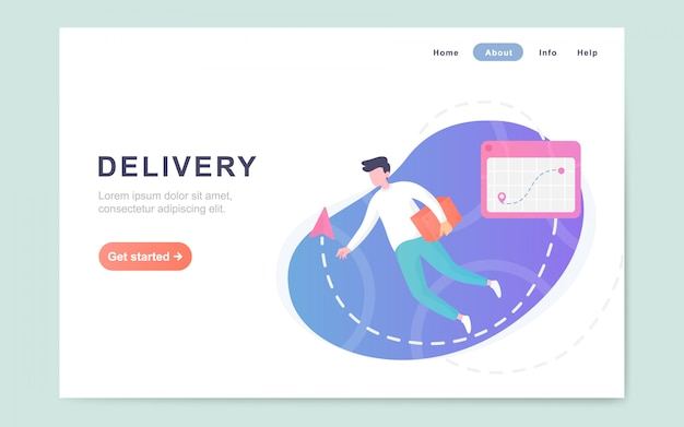 Modern flat landing page of delivery service