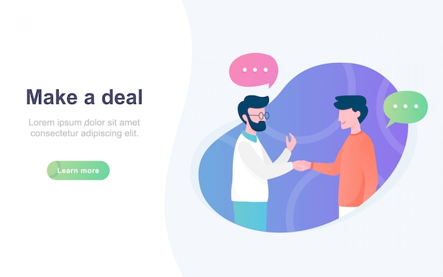 Modern flat landing page of make a deal