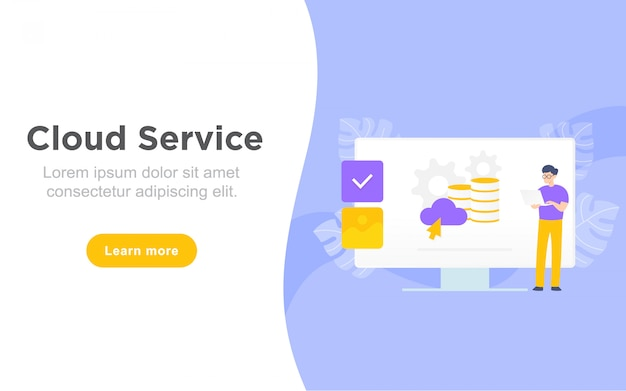 Modern flat landing page of online cloud service