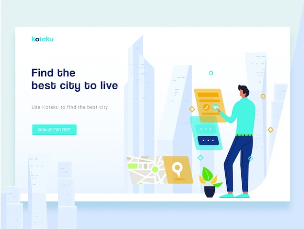 Modern flat landing page template concept of smart city technology