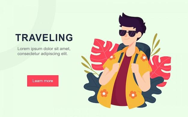 Modern flat landing page of traveling