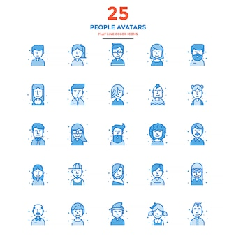 Modern flat line color icons people avatars