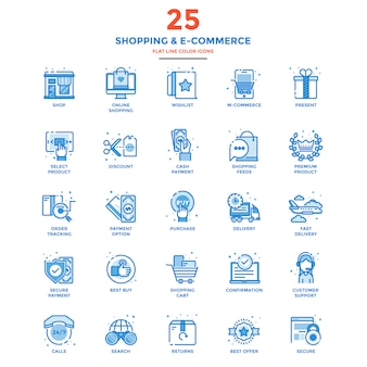 Modern flat line color icons shopping and e commerce