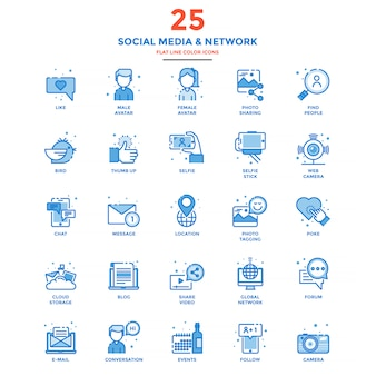Modern flat line color icons social media and network