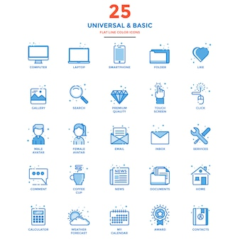 Modern flat line color icons universal and basic