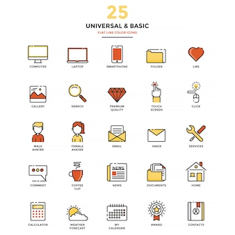Modern flat line color icons