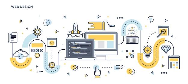 Modern flat line color illustration concept of web design